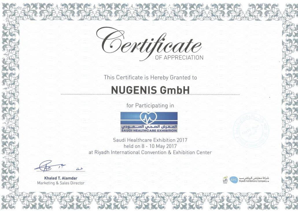 NUGENIS - Certificate Saudi Healthcare Exhibition 2017